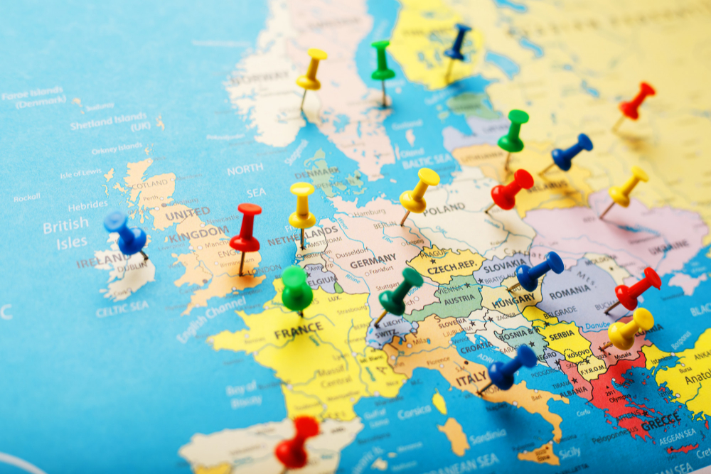 map europe colored buttons indicate location coordinates destination
