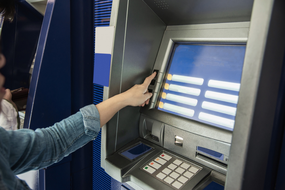 people waiting get money from automated teller machine people withdrawn money from atm concept